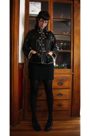 vintage jacket - J-Crew skirt - CVS tights - Clarks shoes - Marshalls shirt - gi