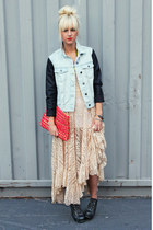 light blue denim jacket - hot pink Anthropologie bag