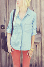 Light-blue-anthropologie-shirt-salmon-studio-12-20-pants-beige-h-m-flats