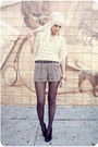 White-sweater-black-tights-black-shoes-gold-accessories-brown-shorts