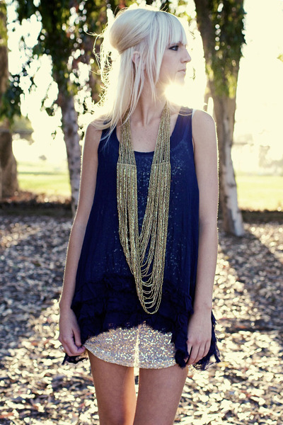 gold necklace - blue Odille dress - white free people intimate