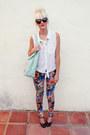 White-rubbish-shirt-light-blue-aldo-bag-black-karen-walker-sunglasses