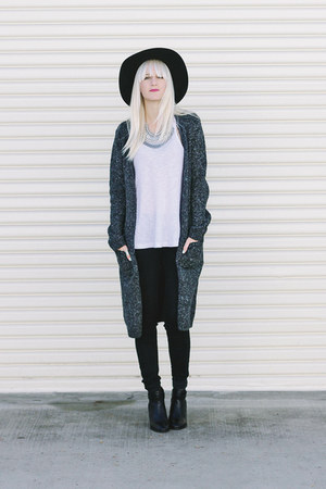 black madewell boots - gray H&M cardigan - white free people top