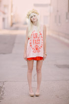 peach Wildfox top - nude H&M shoes - red Urban Outfitters dress