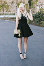 gold Anthropologie purse - black keepsake dress - gold diy crown hair accessory