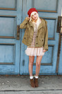 Brown-dolce-vita-boots-olive-green-hei-hei-jacket-nude-free-people-skirt