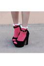 Hot-pink-asos-socks-black-h-m-dress-gold-anthropologie-bag