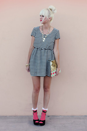 black H&M dress - gold Anthropologie bag - hot pink asos socks