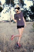 blue polka dot shirt - red high heel shoes - black lace shorts