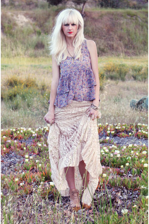 periwinkle Frenchi blouse - neutral maxi free people skirt