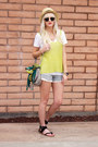 Light-blue-free-people-shorts-yellow-thrifted-top
