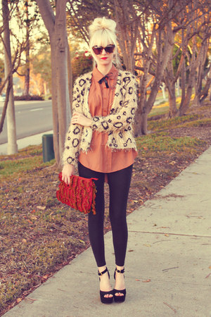 tawny Home blouse - tan causeway mall sweater - black H&amp;M leggings