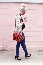 red bag - blue Forever 21 pants - black Nine West heels