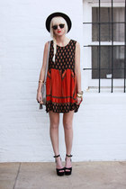 ruby red MinkPink dress - black vintage hat - silver H&M bag