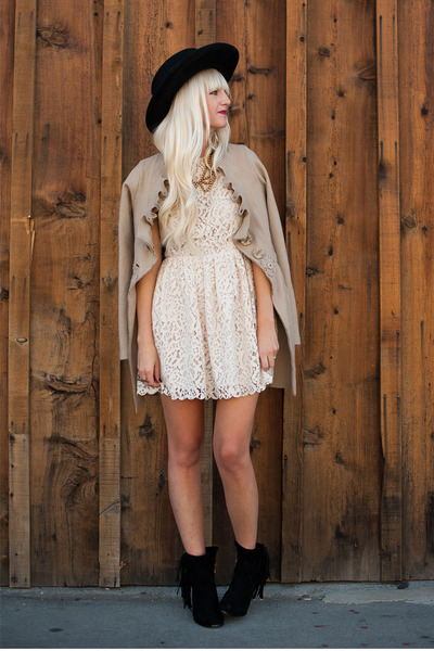 Anthropologie coat - sam edelman boots - lace H&amp;M dress - Nasty Gal hat