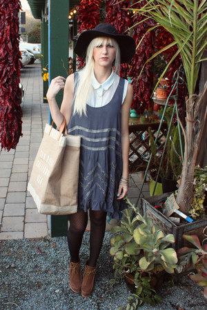 blue free people dress - brown Dolce Vita boots - black vintage hat