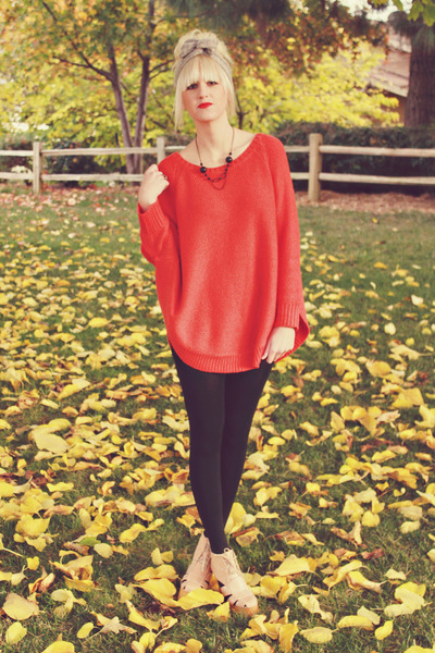 red Anthropologie sweater - neutral Jeffrey Campbell shoes