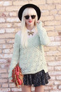 Thrifted-hat-anthropologie-sweater-bag-bycorpus-shorts-h-m-blouse