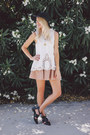 Black-choies-boots-nude-anthropologie-skirt-white-urban-outfitters-blouse
