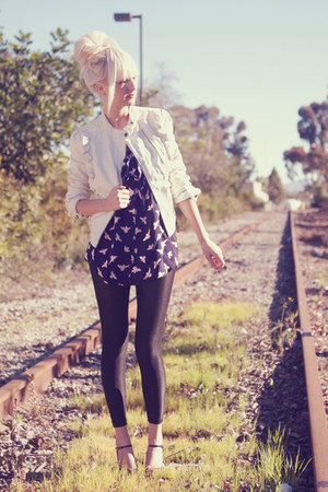 white leather collection b jacket - black Express leggings - navy asos blouse