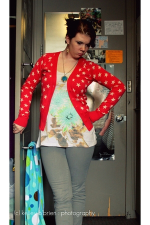 gray jeans - red cardigan - blue Urban Outfitters shirt - blue vintage from Sear