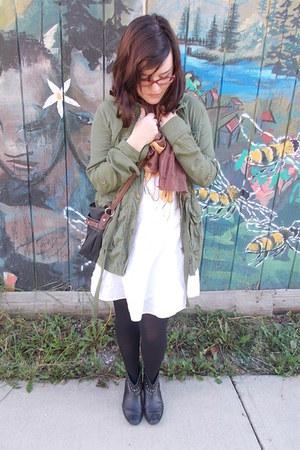 Nordstrom boots - Aeropostale dress - Wet Seal jacket - gift scarf