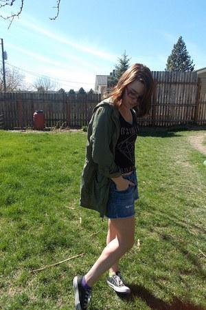 Wet Seal jacket - Converse jacket - American Eagle skirt - vintage top