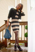 vintage jacket - H & M dress - Bakers shoes - DIY studded no name purse - vintag