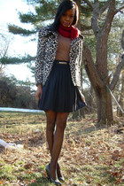 f21 jacket - BCBG shirt - no tag skirt - Nine West shoes