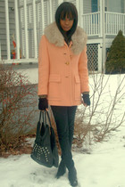 VintageDIY studded bag - Nine West shoes - Greenlea vintage coat