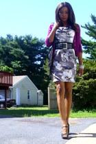 floral pockets H&M dress - peep toe f21 shoes - H&M sweater