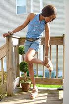 Levis shirt - f21 shorts - moms vintage 70s shoes - F21 & thrifted bracelet - vi