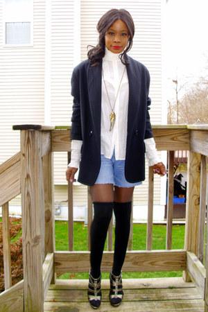 ann taylor coat - VintageJessica McClintock shirt - Express shorts - simply vera