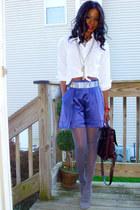 Zara shorts - 9 West shoes - Express shirt - leather vintage bag
