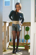 vintage sequin shoulder bodysuit shirt - leathervintage shorts - f21 shoes - Tar