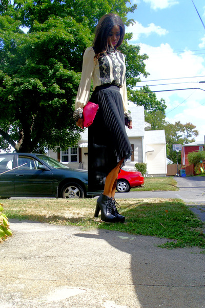 thrifted shirt - Dollhouse shoes - carlos falchi vintage bag - Marquis skirt