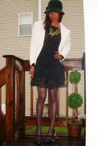 strawberry hat - 525 shirt - vintage skirt - BCBG shoes - tag missing jacket - t