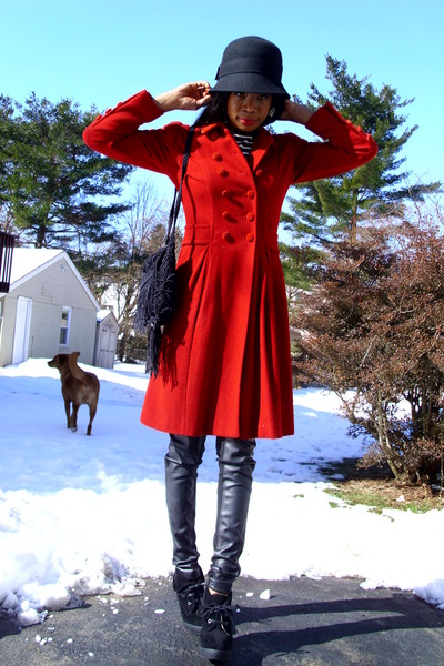faux leather Target pants - DollhouseMarshalls shoes - ruby red Rena Lange coat