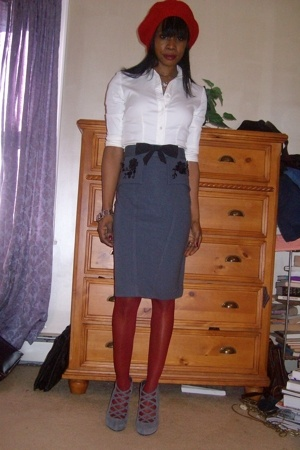 searle shirt - no tag skirt - Marshalls stockings - 9-West shoes - vintage hat