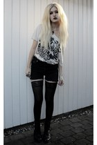 thin material H&M t-shirt - combat boot Bianco boots