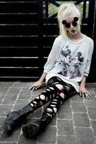 silver H&M sweater - black combat Bianco boots - black Urban Outfitters leggings