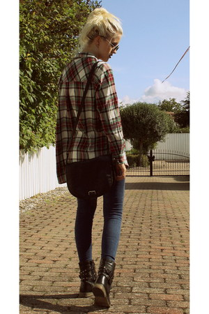 black jeans - brick red flannel GINA TRICOT shirt - black leather H&M bag