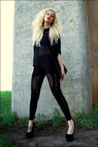 black romwe leggings - black see-through H&M shirt