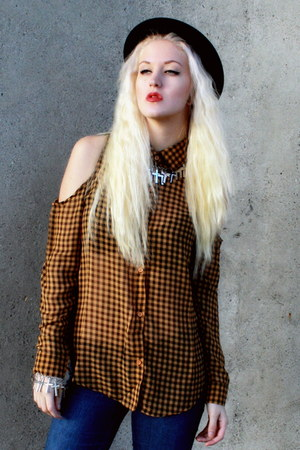 checkered Wasteland shirt - black bowler H&M hat