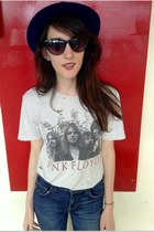 distressed Chaser shirt - vintage hat - cat eye Marc by Marc sunglasses