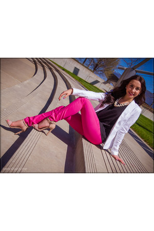 blazer white H&M blazer - halter Forever 21 shirt - pink H&M pants