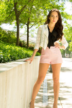 bubble gum high waisted Forever 21 shorts - ivory lace Forever 21 jacket
