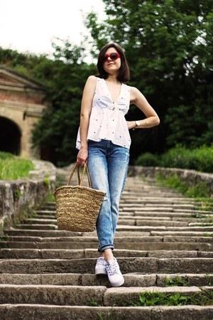 Sinsay jeans - Sinsay shirt - H&M bag - Sinsay sunglasses