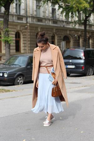 zaful coat - H&M skirt - Bershka sneakers - Terranova belt