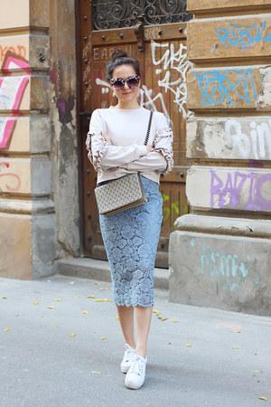 H&M bag - dresslily sunglasses - H&M skirt - H&M sneakers - H&M Trend sweatshirt